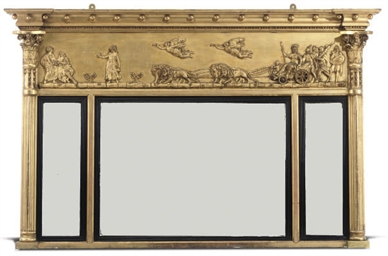 A GILTWOOD AND GESSO OVERMANTE