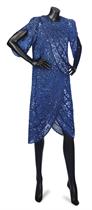 ZANDRA RHODES COUTURE A SAPPHIRE BLUE SILK DRESS