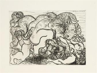 Minotaure attaquant une Amazon