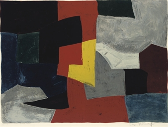 Composition in grey, red and y