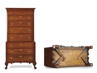 A CHIPPENDALE CHERRYWOOD CHEST