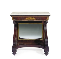 A CLASSICAL GILT DECORATED MAHOGANY MARBLE-TOP PIER TABLE