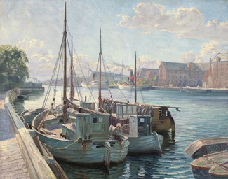 Boats moored at a quay, Copenh