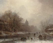 Skaters in a winter landscape