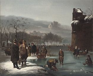 Skaters by the city walls