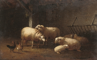 Sheep and chicken in a barn