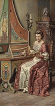 A young beauty learning the harpsichord