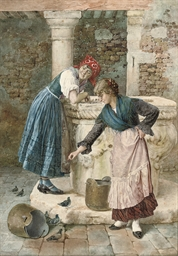 Feeding pigeons by the well