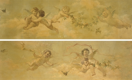 Putti desporting with garlands
