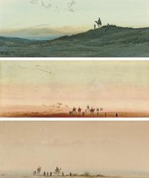 A desert skyline; A camel trai