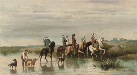 Arabian riders fording a river