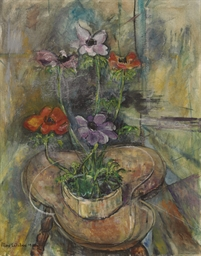 Still Life with Anemones on a
