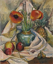 Still Life with Poppies and Fruit