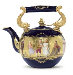 A VIENNA STYLE GOLD AND COBALT