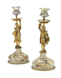 A PAIR OF GILT-METAL AND ENAME