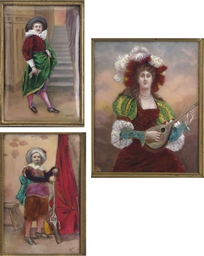 THREE FRENCH ENAMEL PORTRAIT P