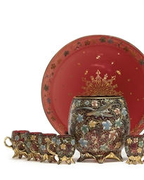 A MOSER ENAMELED RUBY GLASS PUNCH-BOWL SET