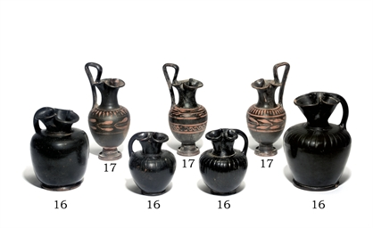 FOUR SOUTH ITALIAN BLACK-GLAZE