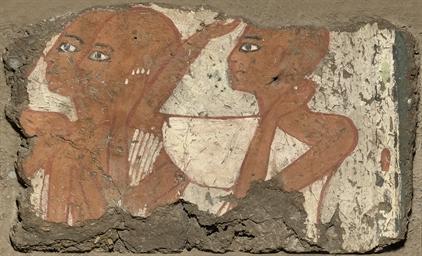 AN EGYPTIAN POLYCHROME WALL PA