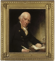 Portrait of Warren Hastings, seated at a writing table with his left hand on a letter signed with his name
