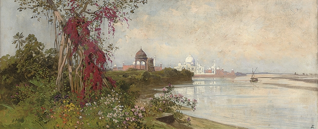 The Taj Mahal from the banks o