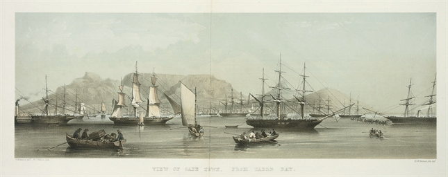 A View of Cape Town from Table Bay; The Public Library and Museum, from the Botanic Gardens; Adderley Street and the Dutch Reformed Church; St George's Cathedral, from Wale Street; The Presbyterian Church, St Andrew's Square; The Lutheran Church, Strand Street; The Government House; The Entrance to the Castle; The Roman Catholic Cathedral; Simon's Town; Port Elizabeth; and Graham's Town, from the Bay Road