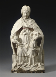 AN ALABASTER GROUP OF 'ANNA SE