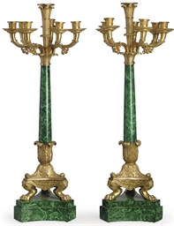 A PAIR OF FRENCH ORMOLU AND FA