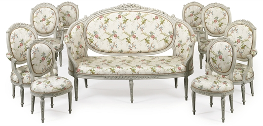 A LOUIS XVI GREY-PAINTED AND P