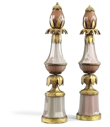 A PAIR OF FRENCH GILT-METAL AN