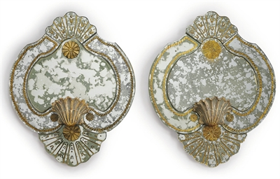 A PAIR OF VERRE EGLOMISE AND G