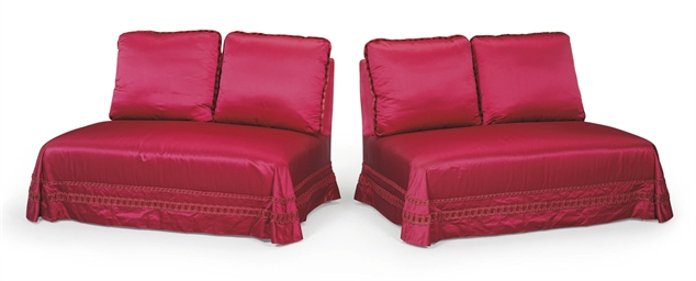 A PAIR OF CRIMSON SILK-UPHOLST