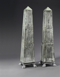 A PAIR OF MIRRORED OBELISKS