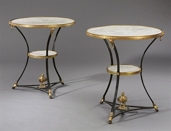 A PAIR OF ORMOLU AND EBONIZED