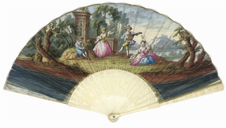 THE MUSICIANS, A PAINTED FAN