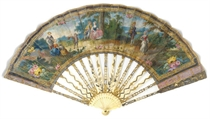 A FAN, THE LEAF PAINTED WITH FIGURES IN A GLADE