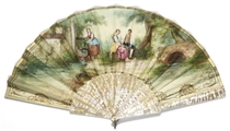 A LARGE FAN, THE STICKS MOTHER OF PEARL