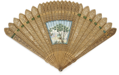 A SANDALWOOD BRISÉ FAN WITH RE