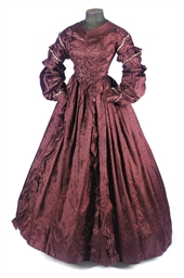 A MAROON SATIN DAMASK DAY DRES