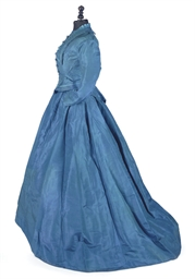 A SAXE-BLUE SILK WALKING DRESS
