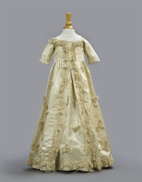 A SILK SATIN INFANT'S GOWN