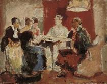 Bridge players (verso); Study of a lady reading (recto)