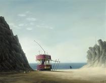 Beach Scene with Abandoned Tram