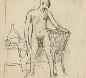 Nude Standing by a Chair