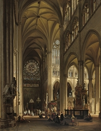Interior of the Amiens cathedral with the Northern transept rose