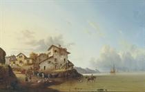 A coastal town in summer