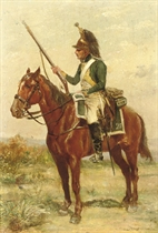 Dragon en vedette: an officer on horse back
