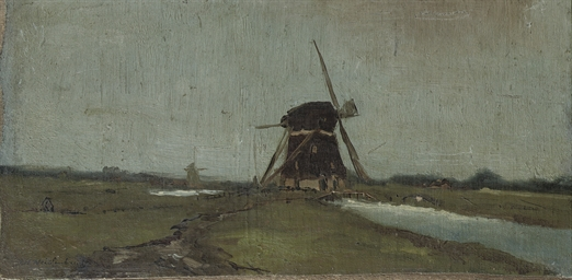 A windmill along a stream