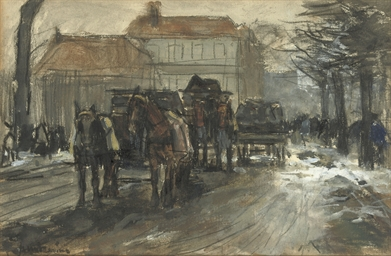 Carriages in winter, The Hague