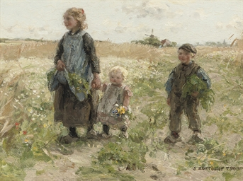 Children walking in the fields